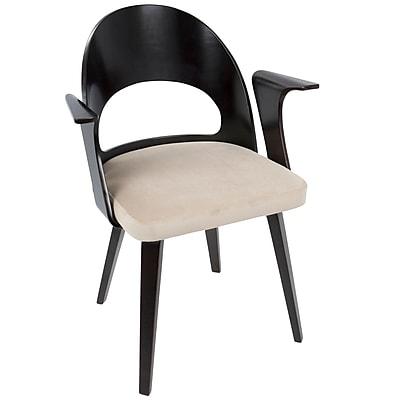 LumiSource Verino Mid-Century Modern Dining Chair in Espresso and Light Brown Velvet (CH-VRNO E+LBN)