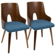 LumiSource Ariana Mid-Century Modern Chair in Walnut and Blue (CH-ARIA WL+BU2)