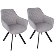 LumiSource Outlaw Industrial Dining / Accent Chair in Grey PU (CH-OUTLW BK+GY2)