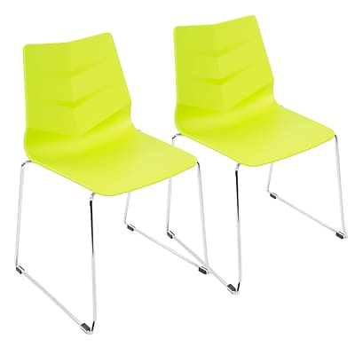 LumiSource Arrow Contemporary Dining Chair in Lime Green (CH-ARROW LG2)