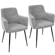 LumiSource Andrew Contemporary Dining / Accent Chair in Grey Fabric  (CH-ANDRW BK+GY2)