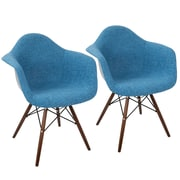 LumiSource Neo Flair Duo Mid-Century Modern Dining / Accent Chair in Blue and Grey (CH-NFLF BU+E2)