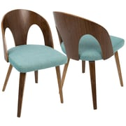 LumiSource Ava Mid-Century Modern Dining Chair in Walnut Wood and Teal Fabric (CH-AVA WL+TL)