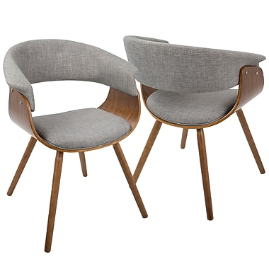 LumiSource Vintage Mod Mid Century Modern Chair in Walnut and Light Grey (CH-VMO WL+LGY)