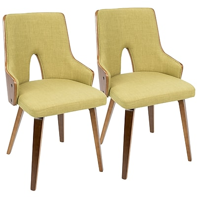 LumiSource Stella Mid-Century Modern Padded Chair in Walnut and Green (C64CH-STLA WL+GN2)