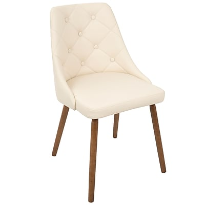 LumiSource Giovanni Mid-Century Modern Dining Chair in Walnut and Cream Quilted PU (CH-GIOV WL+CR)