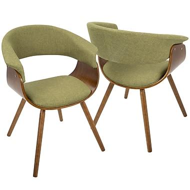 LumiSource Vintage Mod Mid Century Modern Chair in Walnut and Green (CH-VMO WL+GN)