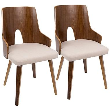 LumiSource Ariana Mid Century Modern Chair in Walnut and Beige (CH-ARIA WL+BG2)
