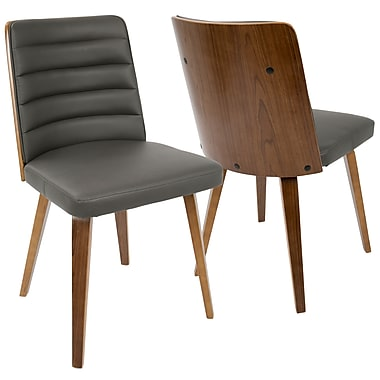 LumiSource Francesca Mid Century Modern Chair in Walnut Wood and Grey PU (CH-FRN WL+GY)