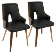 LumiSource Stella Mid-Century Modern Dining Chair in Walnut and Black PU (CH-STLA WL+BK2)