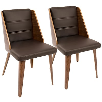 LumiSource Galanti Mid-Century Modern Dining Chair in Walnut Wood and Brown PU (CH-GAL WL+BN2)