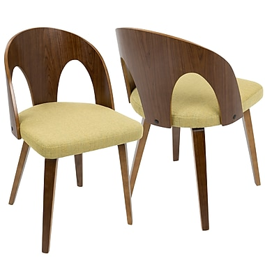 LumiSource Ava Mid Century Modern Dining Chair in Walnut Wood and Yellow Fabric (CH-AVA WL+Y)