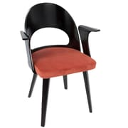 LumiSource Verino Mid-Century Modern Dining Chair in Espresso and Orange Velvet (CH-VRNO E+O)