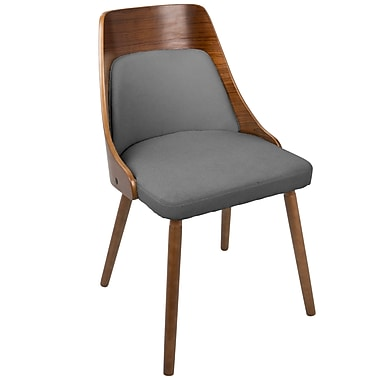 LumiSource Anabelle Mid Century Modern Dining Chair in Walnut and Grey Fabric (CH-ANBEL WL+GY)