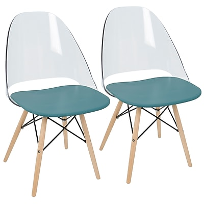 LumiSource Tonic Mid-Century Modern Dining / Accent Chair in Teal Blue (CH-TNC TL+NA2)