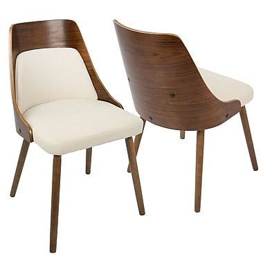LumiSource Anabelle Mid Century Modern Dining Chair in Walnut and Cream Fabric (CH-ANBEL WL+CR)