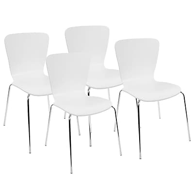 LumiSource Woodstacker Contemporary Dining Chairs in White by LumiSource (DC-TW-STAK W4)
