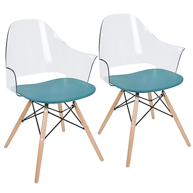 LumiSource Tonic Flair Mid Century Modern Dining / Accent Chair in Clear Teal (CH-TNCF TL+NA2)