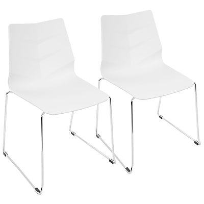 LumiSource Arrow Contemporary Dining Chair in White (CH-ARROW W2)