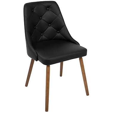 LumiSource Giovanni Mid Century Modern Dining Chair in Walnut and Black Quilted PU (CH-GIOV WL+BK)