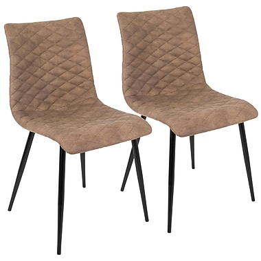 LumiSource Eastwood Industrial Dining Chair in Brown PU (CH-ESTWD BK+BN2)