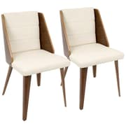 LumiSource Galanti Mid-Century Modern Dining Chair in Walnut Wood and Cream PU (CH-GAL WL+CR2)