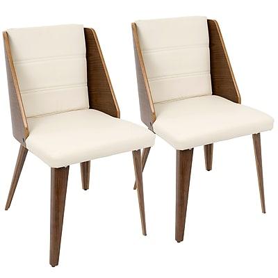 LumiSource Galanti Mid-Century Modern Dining Chair in Walnut Wood and Cream PU (CH-GAL WL+CR2)
