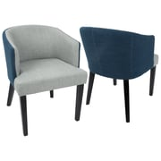 LumiSource Ashland Contemporary Dining / Accent Chair in Light Grey and Blue (DC-ASH E+LGY)