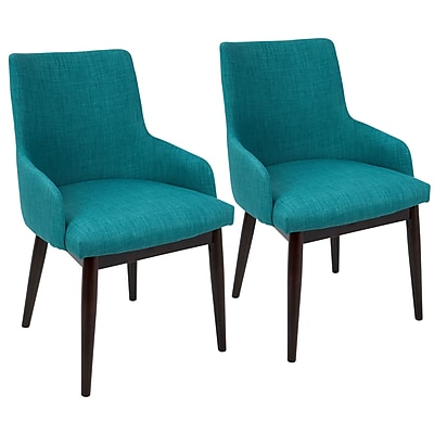LumiSourceSantiago Mid-Century Modern Dining / Accent Chair Teal Fabric Upholstery (DC-SNTGO WL+TL2)