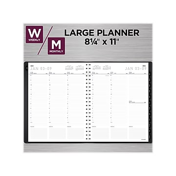 """2022 AT-A-GLANCE 8.25"""" x 11"""" Weekly/Monthly Planner, Contemporary, Graphite (70-950X-45-22)"""