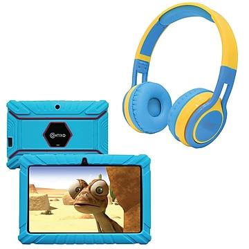 Contixo 7-Inch Kids Tablet, 16 GB w/Wireless Bluetooth Kids Headphones, Blue (843631146811)