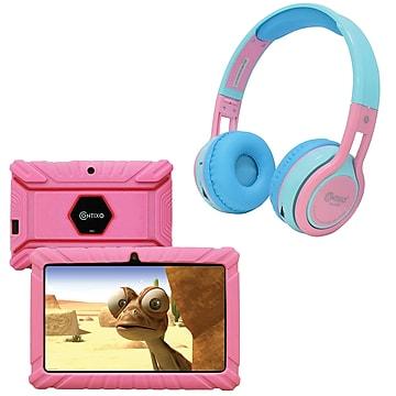 Contixo 7-Inch Kids Tablet, 16 GB w/Wireless Bluetooth Kids Headphones, Pink (843631146828)