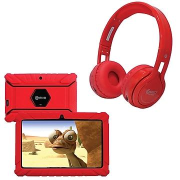 Contixo 7-Inch Kids Tablet, 16 GB w/Wireless Bluetooth Kids Headphones, Red (843631146835)