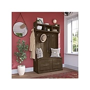 """kathy ireland® Home by Bush Furniture Woodland 71"""" Hall Tree and Shoe Storage Bench with Doors, Ash Brown (WDL001ABR)"""