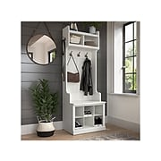 """kathy ireland® Home by Bush Furniture Woodland 69"""" Shoe Storage Bench and Coat Rack with 4 Shelves, White Ash (WDL008WAS)"""