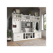 "kathy ireland® Home by Bush Furniture Woodland 69"" Full Entryway Storage Set with 18 Shelves, White Ash (WDL014WAS)"