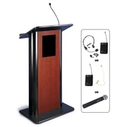"Amplivox 49""H Contemporary Flat Panel Lectern with Wireless Sound, Cherry Finish (SW3100)"