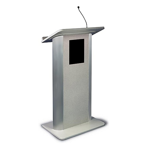 """Amplivox 49""""H Contemporary Flat Panel Lectern, Gray Granite with Sound, Gray Finish (SS3105)"""