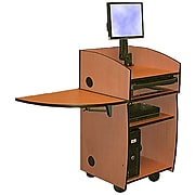"""Amplivox 45""""H Mobilite Lectern with Viewport, Cherry Finish (SN3645-CH)"""