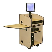 "Amplivox 45""H Mobilite Lectern with Viewport, Maple Finish (SN3645-MP)"