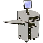 """Amplivox 45""""H Mobilite Lectern with Viewport, Gray Finish (SN3645-GY)"""