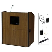 "Amplivox 49""H Multimedia Smart Podium Wireless Sound, Walnut Finish (SW3430-WT)"