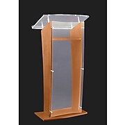 """Amplivox 48""""H Frosted """"H"""" Style Acrylic with Oak Sides and Floor Panel Lectern, Translucent Finish (SN350016)"""