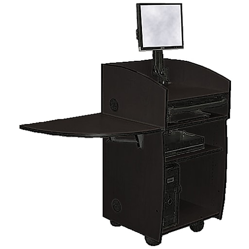 "Amplivox 45""H Mobilite Lectern with Viewport, Black Finish (SN3645-BK)"