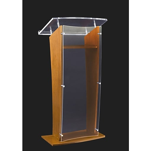 """Amplivox 48""""H Clear """"H"""" Style Acrylic with Oak Sides and Floor Panel Lectern, Clear Finish (SN350006)"""