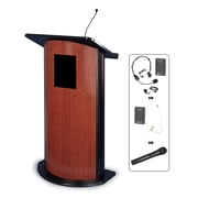 "Amplivox 49""H Contemporary Curved Panel Lectern, Cherry with Wireless Sound (SW3145)"