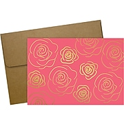 Great Papers! Gold Roses Glossy Personal Notecard, Pink/Gold, 50/Pack (2020153)