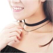 Zodaca Women's Fashion Velvet and Charm Multirow Choker Necklace Pendant Jewelry - Black/Silver (2309973)