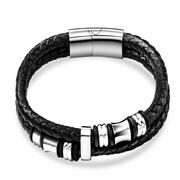 Zodaca Men's Fashion Genuine Leather Titanium Steel Wristband Beads Braided Bracelet - Black/Silver (2314801)