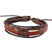 Zodaca Fashion Free-size Handcraft Leather Braided Wristband Unisex Men Ladies Multi-strand Bracelets - Brown/Black (2310008)